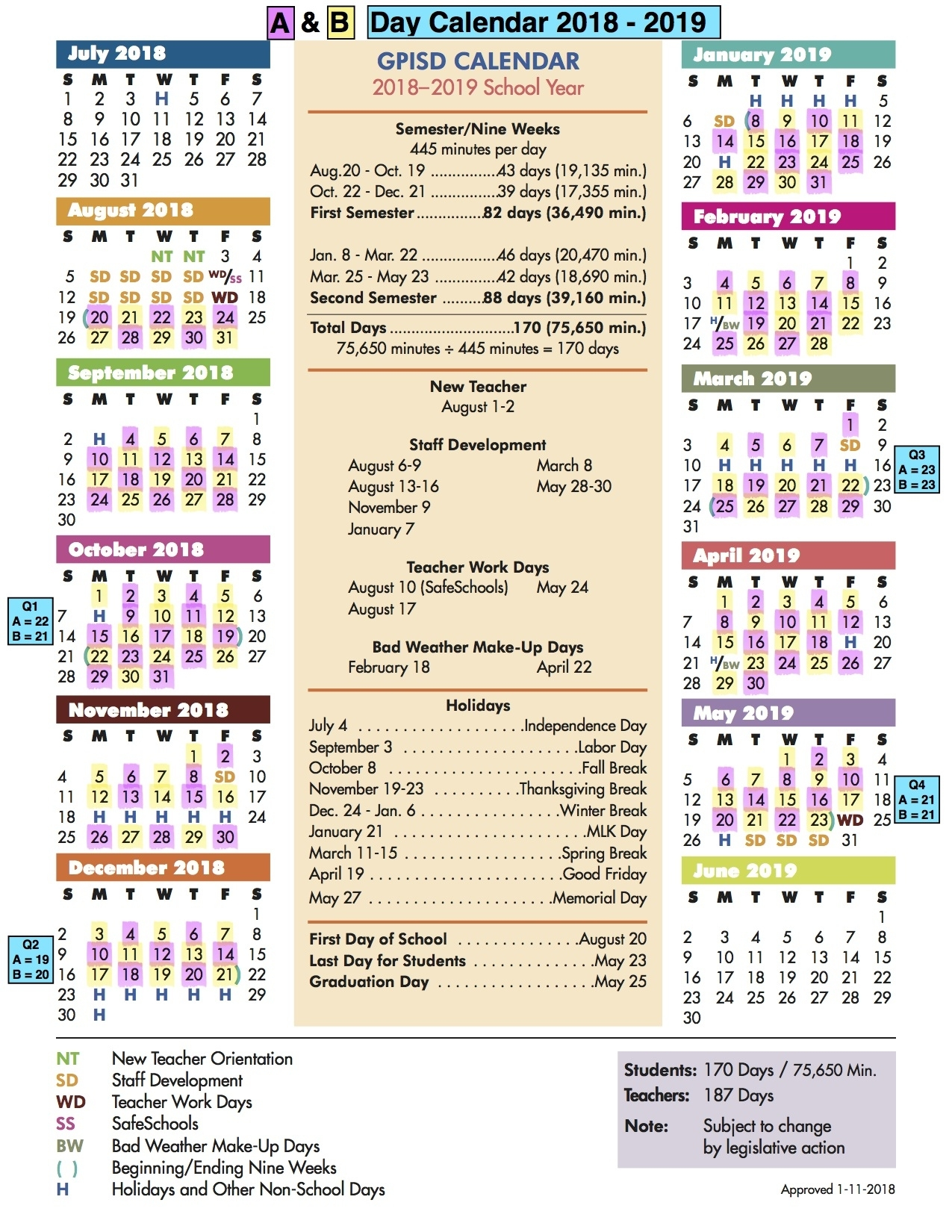 A/b Calendar / A/b Day Calendar B Gale Wilson School Calendar