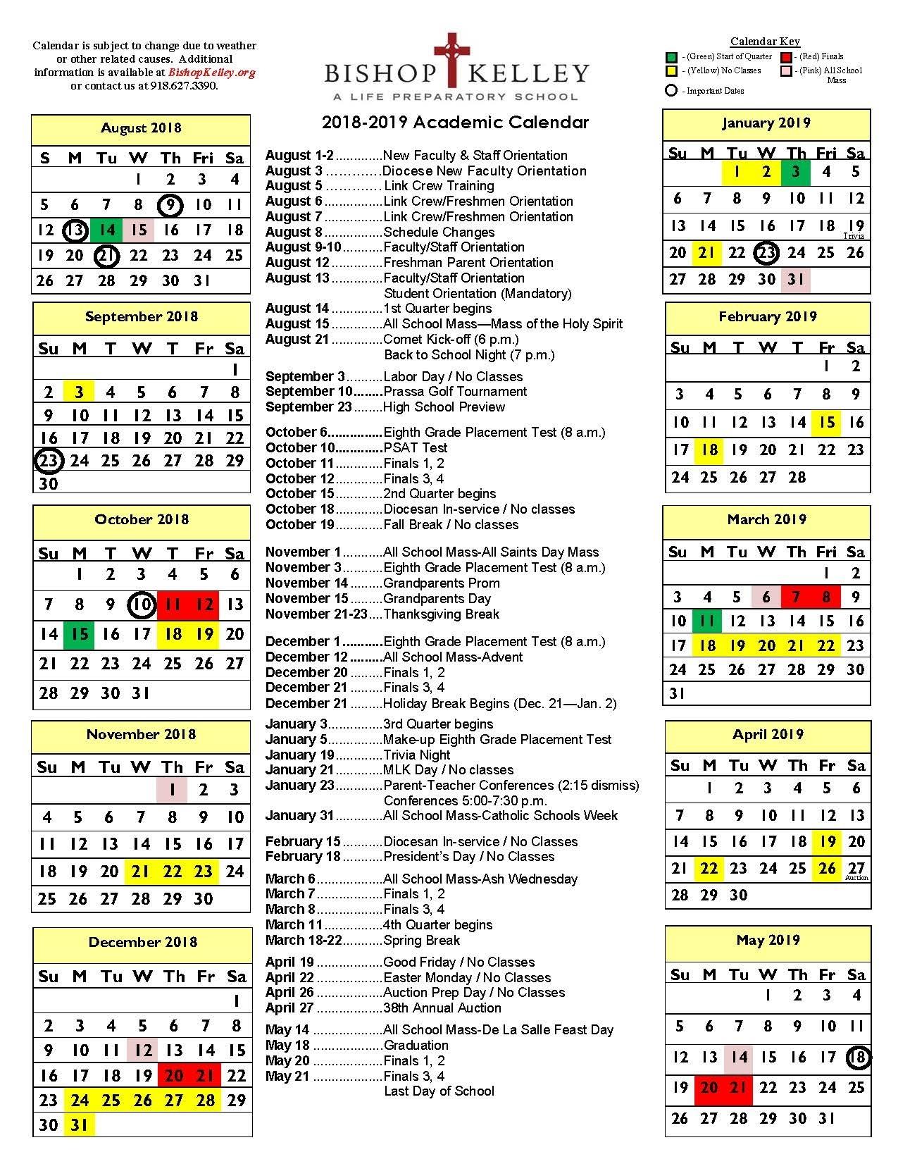 Academic Calendar   Bishop Kelley Tri C School Calendar