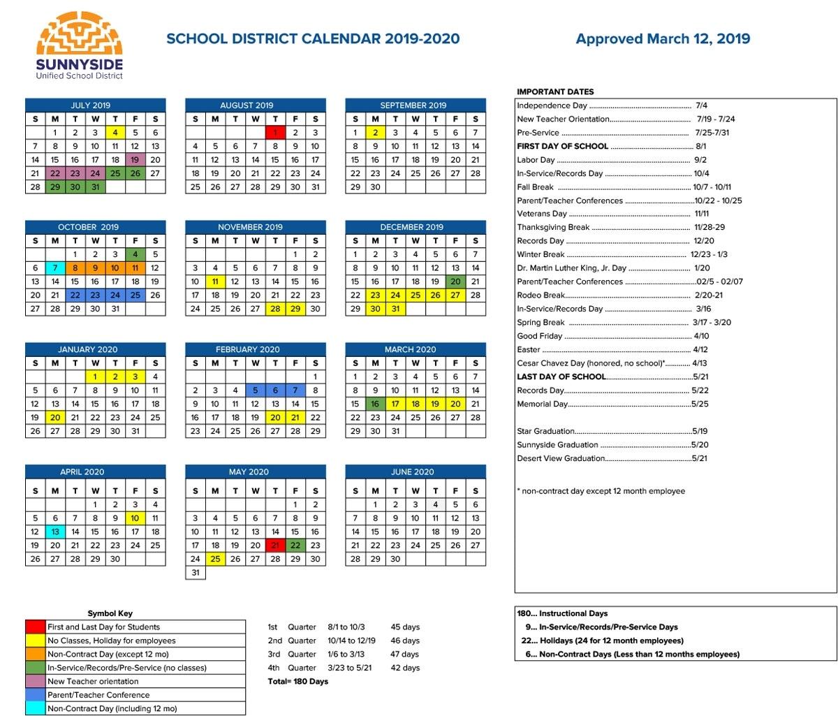 Academic Calendar | Sunnyside Unified School District Challenger 7 School Calendar