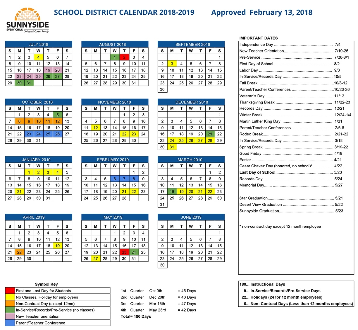 Academic Calendar | Sunnyside Unified School District Incredible District 2 School Calendar