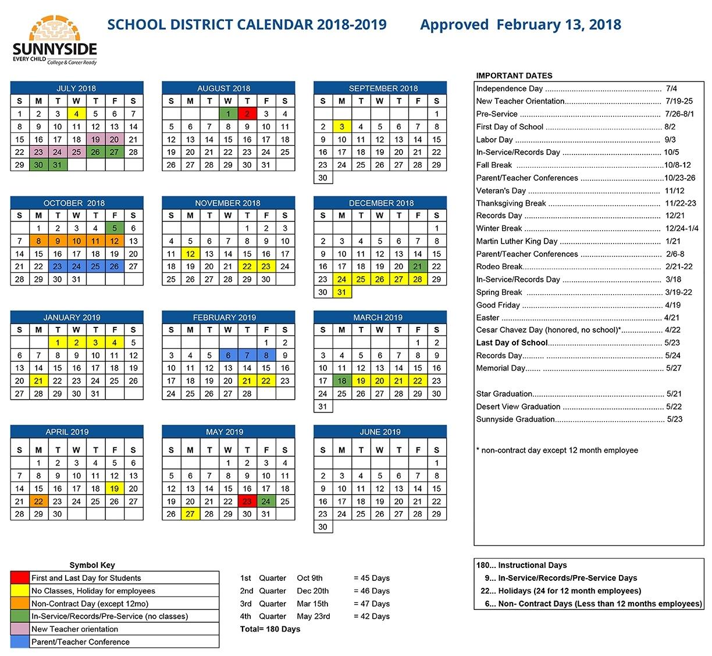 Academic Calendar | Sunnyside Unified School District Incredible School Calendar District 2