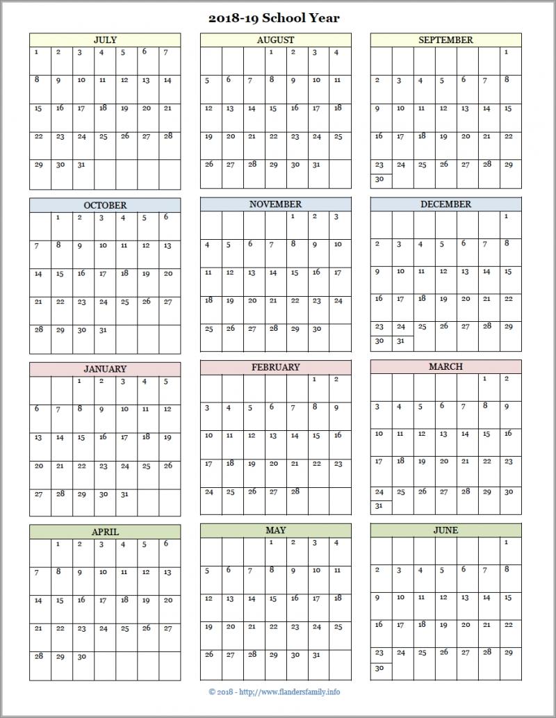 Academic Calendars For 2018-19 School Year (Free Printable Perky Calendar For School Year