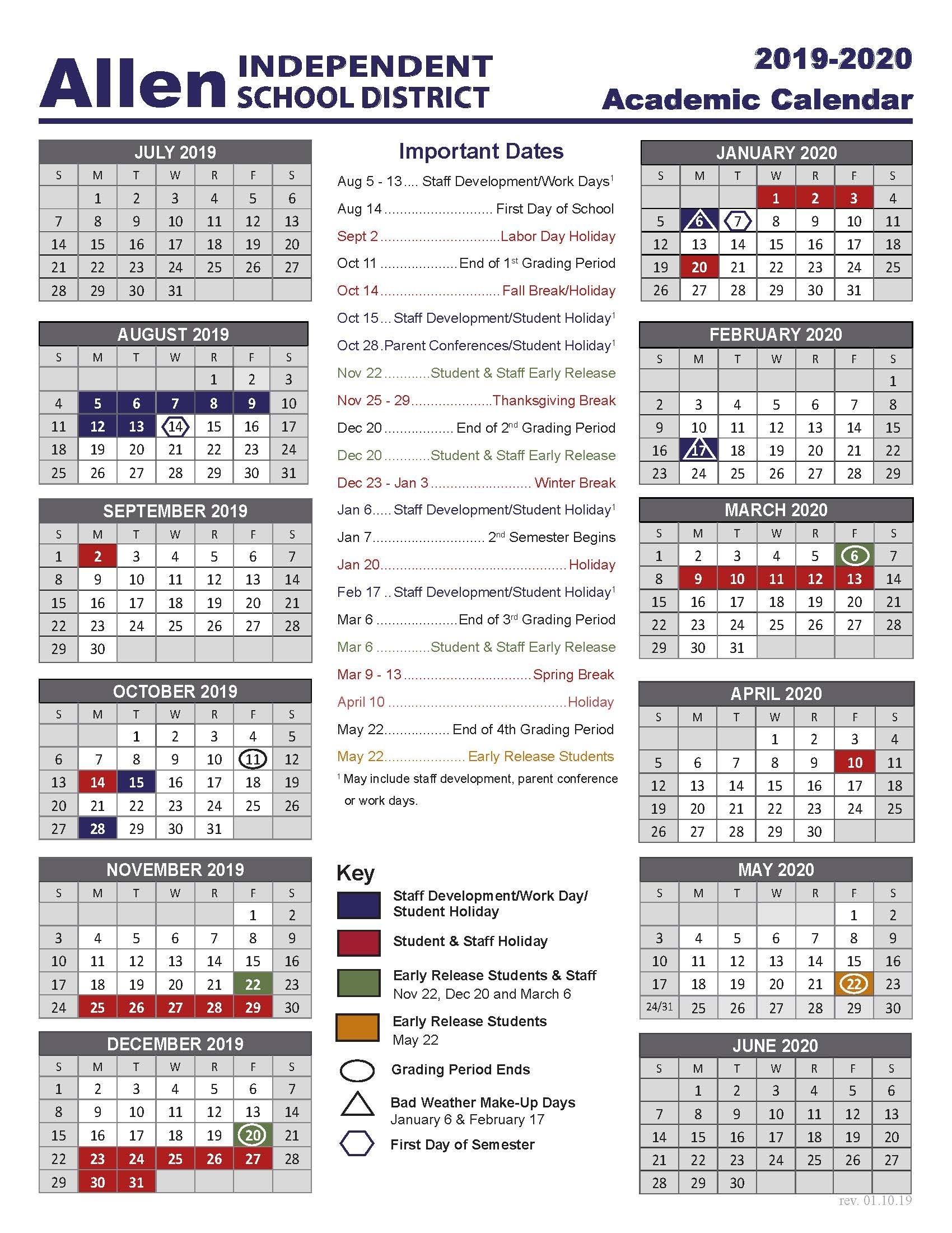 Academic School Year Calendar / 2019-2020 Academic School Calendar Perky Anderson 2 School Calendar