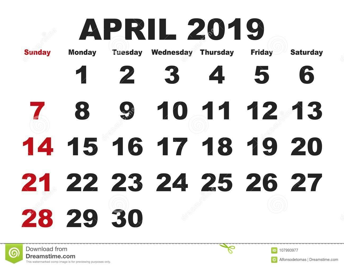 April Month Calendar 2019 English Usa Stock Vector - Illustration Of Is A Calendar Month 4 Weeks