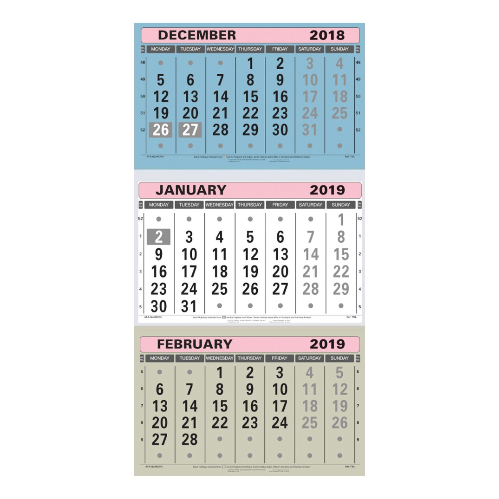 At-A-Glance 2019 Wall Calendar Three Months To View Board Binding 3 Month Calendar Uk
