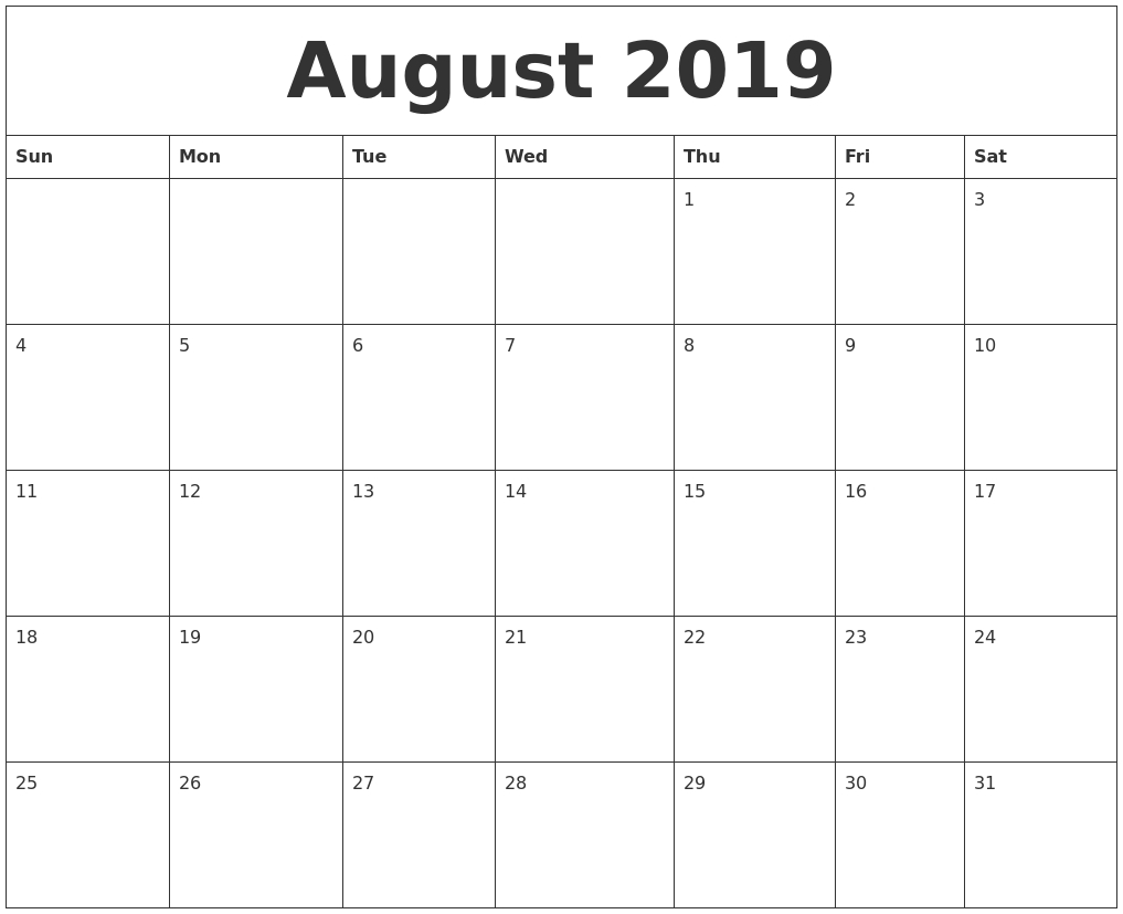 August 2019 Blank Monthly Calendar Template Exceptional Blank Calendar Template By Month