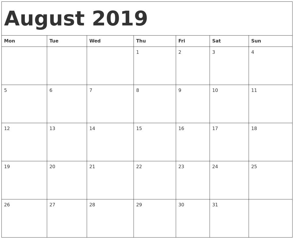 August 2019 Calendar Template Printable Calendar 2019 Starting Calendar Template Starting With Monday
