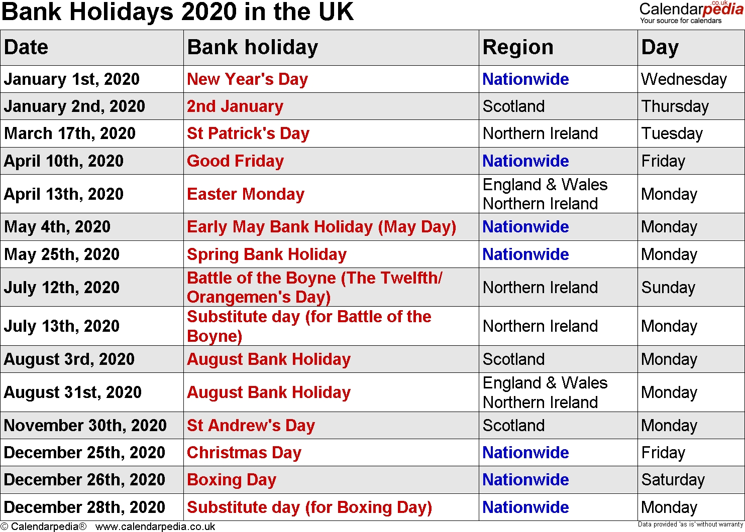 Bank Holidays 2020 In The Uk Exceptional 2020 Calendar Holiday List