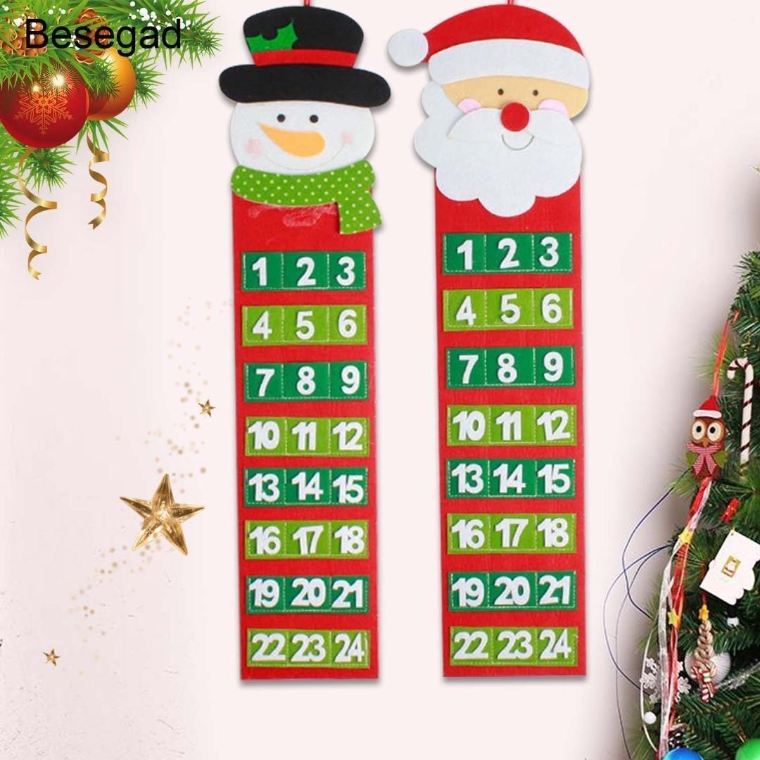 Behogar Cute 24 Day Countdown To Christmas Tree Advent Calendar Door 7 Day Countdown Calendar