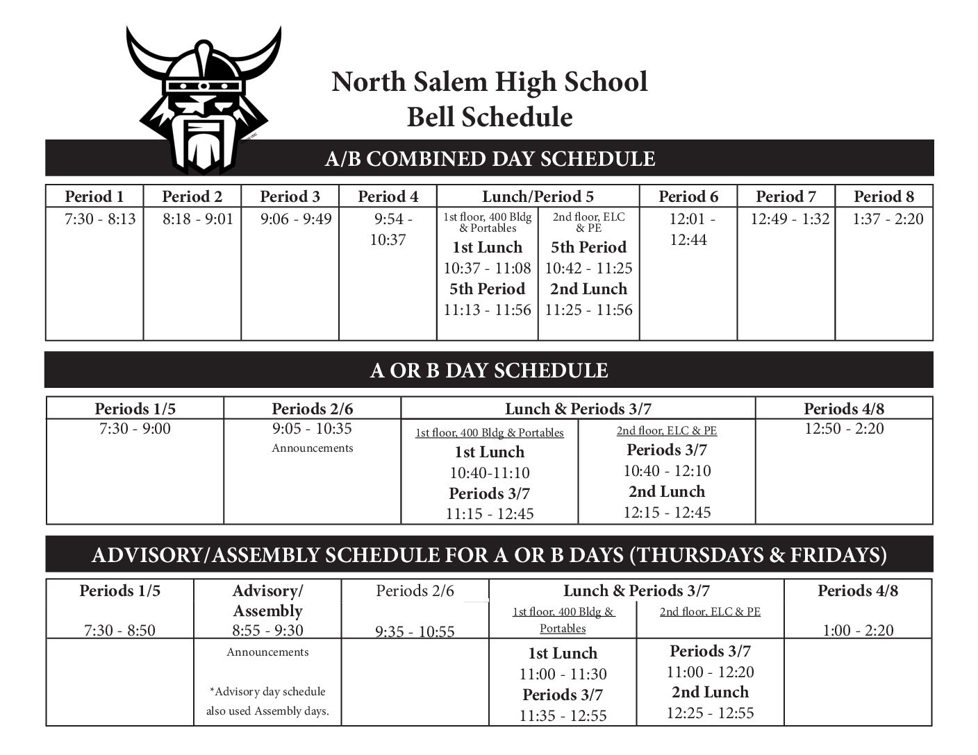 Bell Schedules – North Salem High School School Calendar Salem Keizer