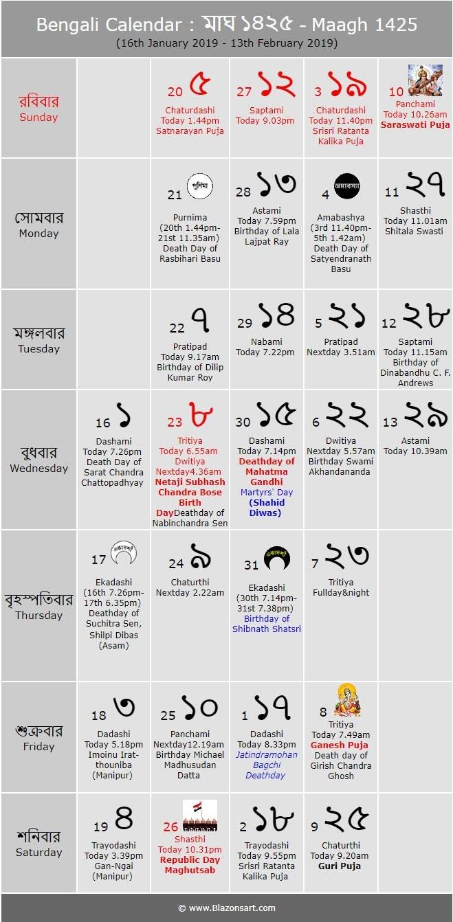 Bengali Calendar 1425 (Eng: 2018-2019) - Bengali Calendar Kartik Month