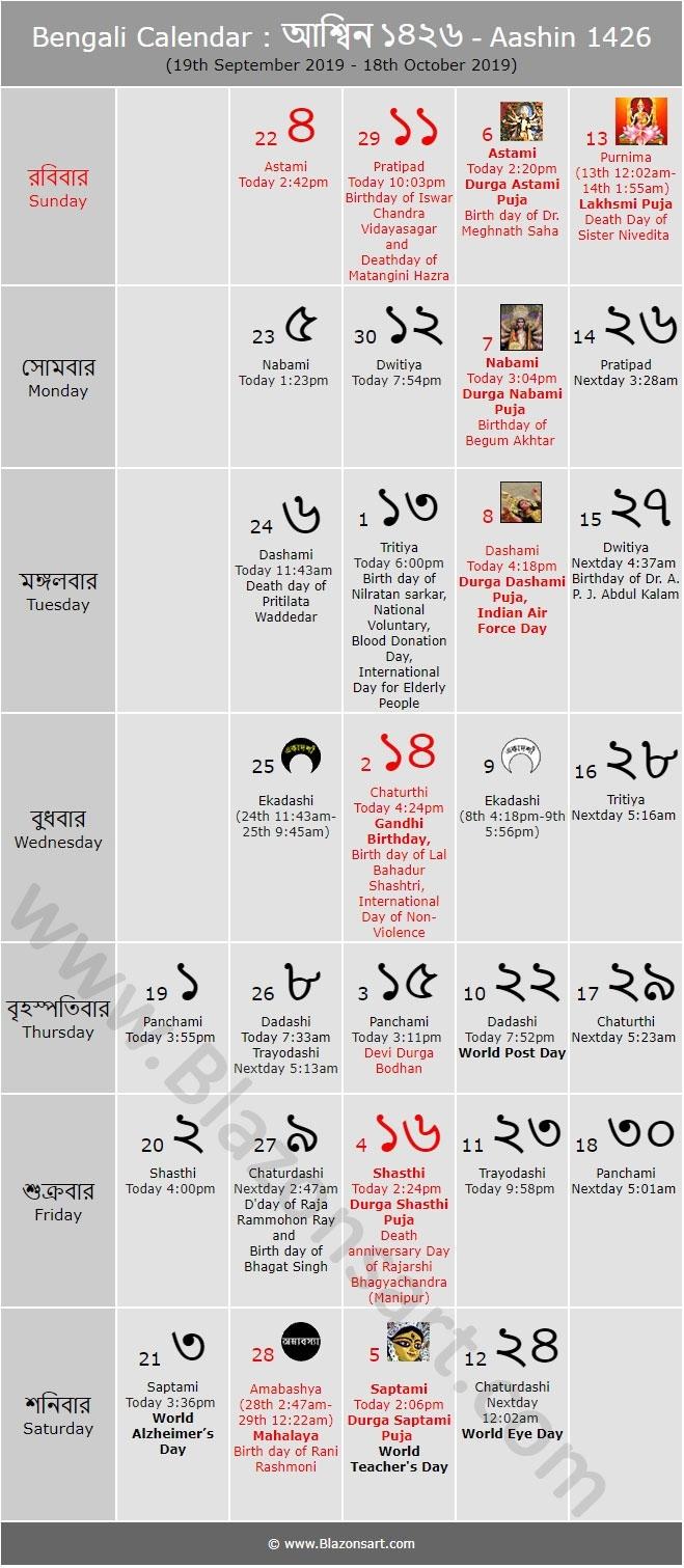 Bengali Calendar - Aashin 1425 : বাংলা কালেন্ডার Bengali Calendar Kartik Month
