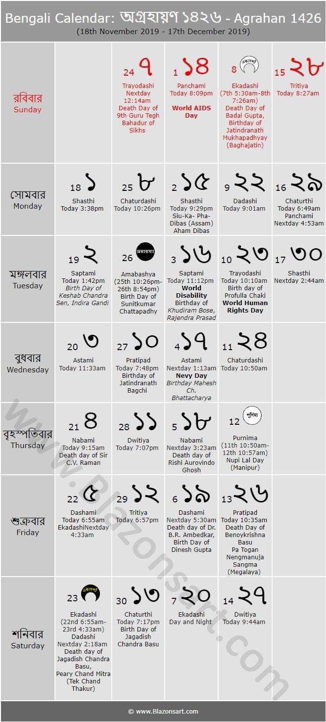 Bengali Calendar - Agrahan 1426 : বাংলা কালেন্ডার Bengali Calendar Kartik Month