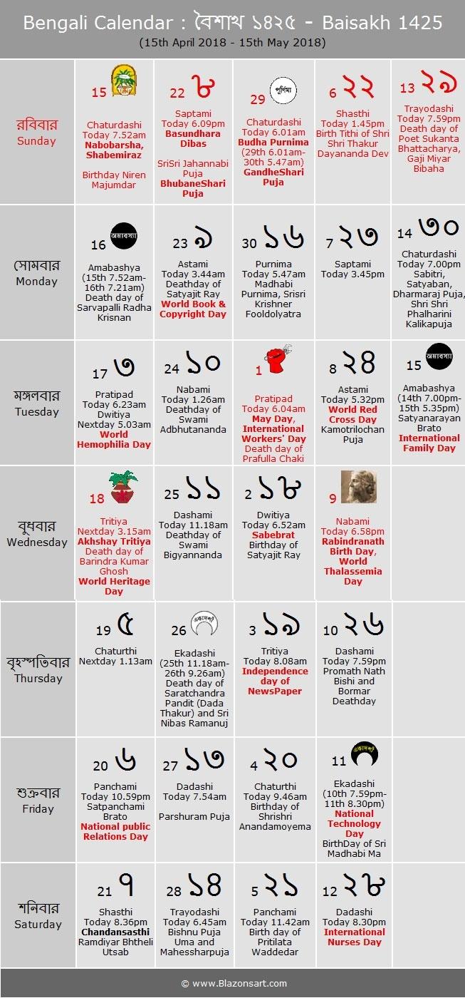 Bengali Calendar - Baisakh 1425 : বাংলা কালেন্ডার Bengali Calendar Kartik Month