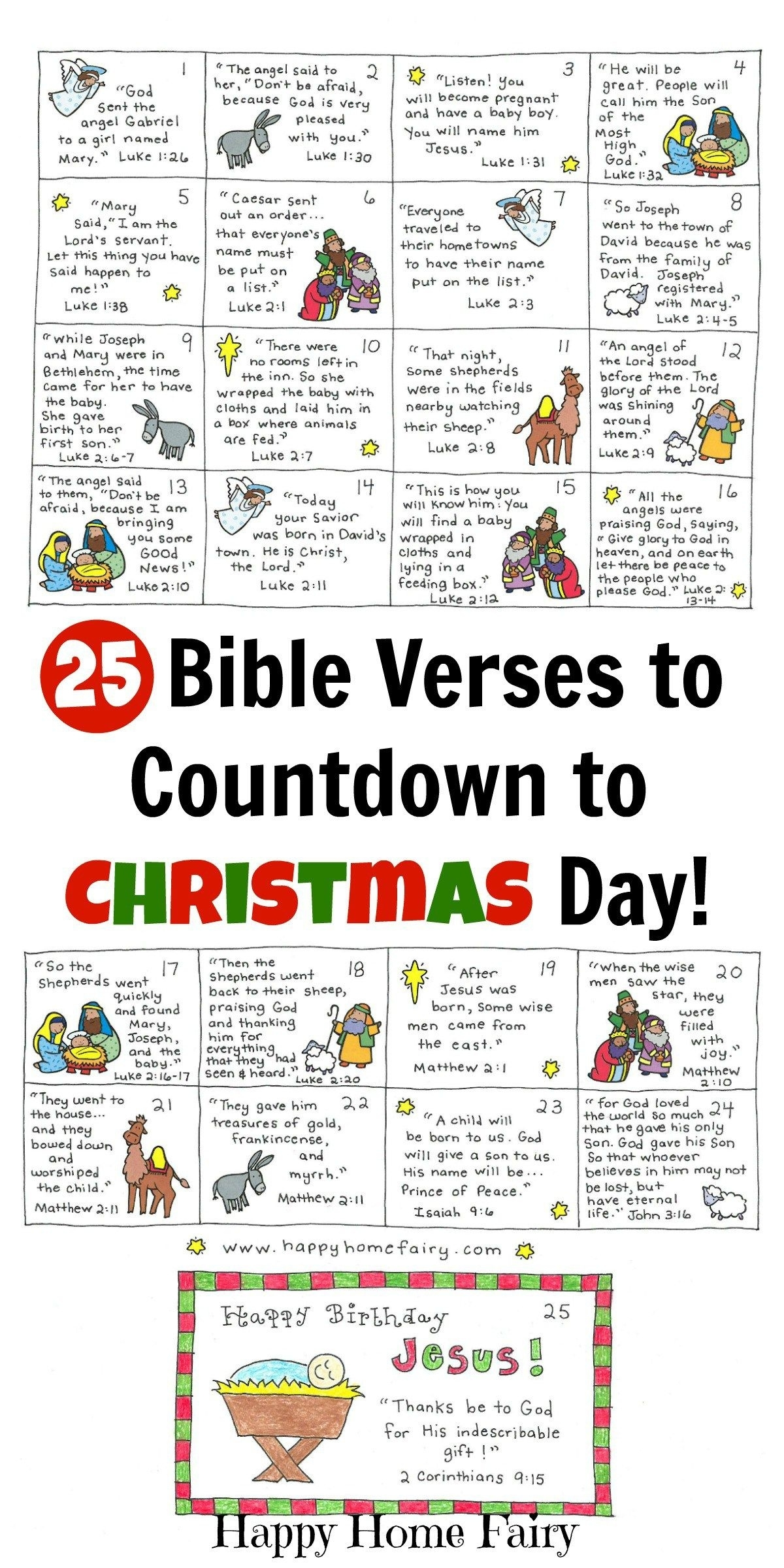 Bible Verse Advent Countdown For Kids - Free Printable | Christmas Advent Calendar Quiz Template
