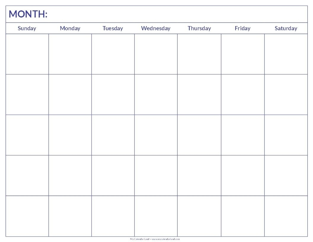 Blank Calendar 6 Weeks Start On Sunday | Blank Calendar Template Blank Calendar Template 6 Weeks