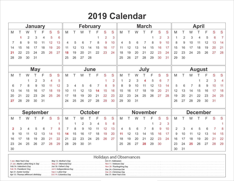 Blank Printable Calendar 2019 With Holidays | Printableshelter Incredible Print Blank Calendar Office 365