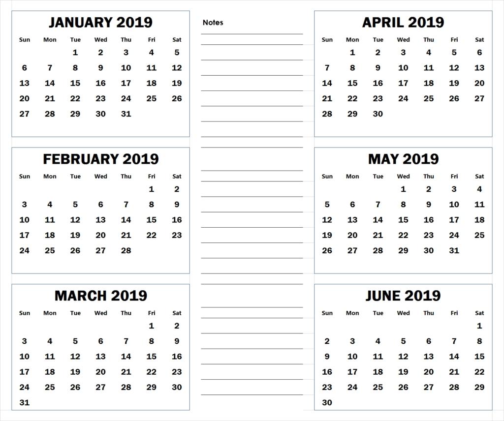 Blank Six Month 2019 Printable Calendar | 2019 Calendars | Calendar 6 Month Calendar Blank