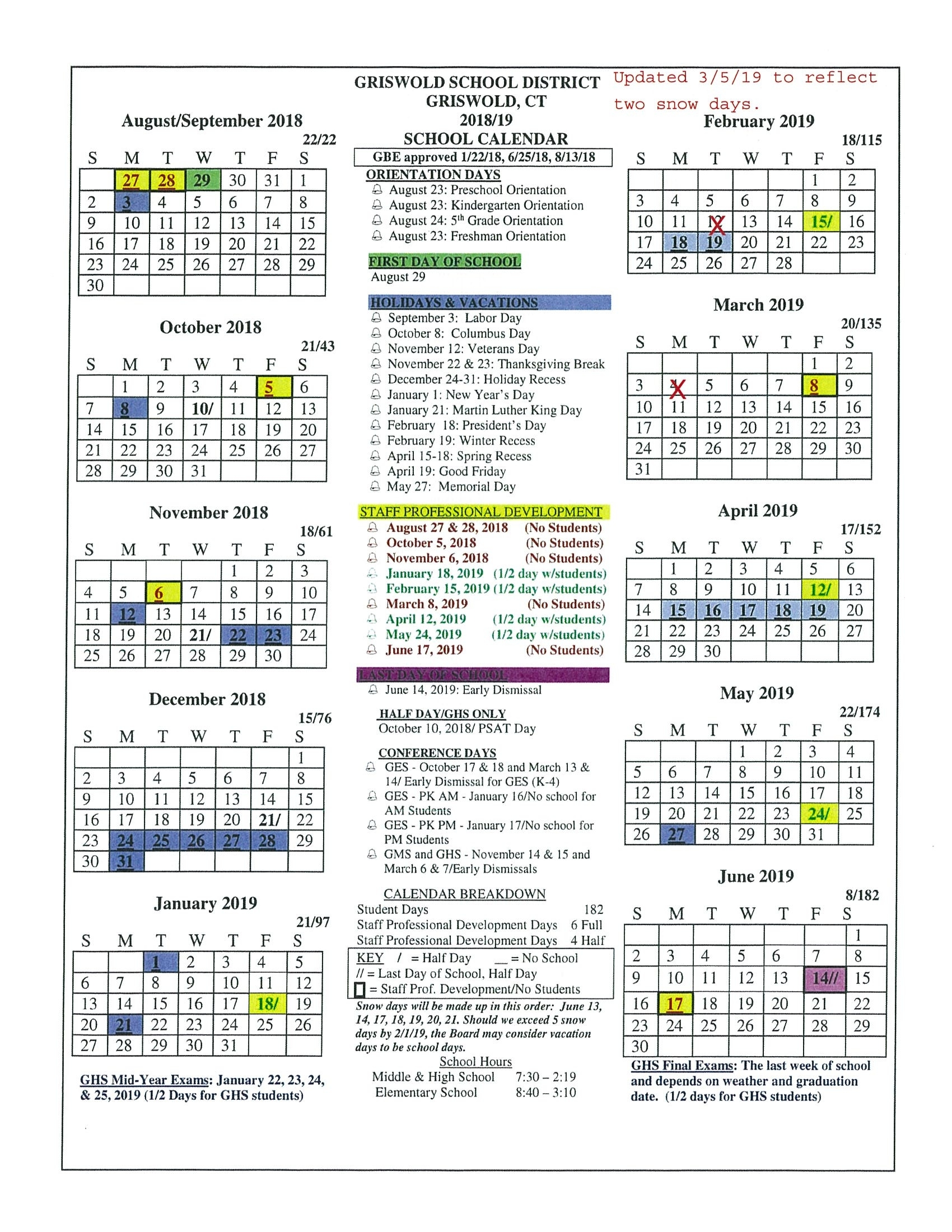 Board Approved Academic Calendar - Griswold Public Schools Exceptional 9 Week School Calendar