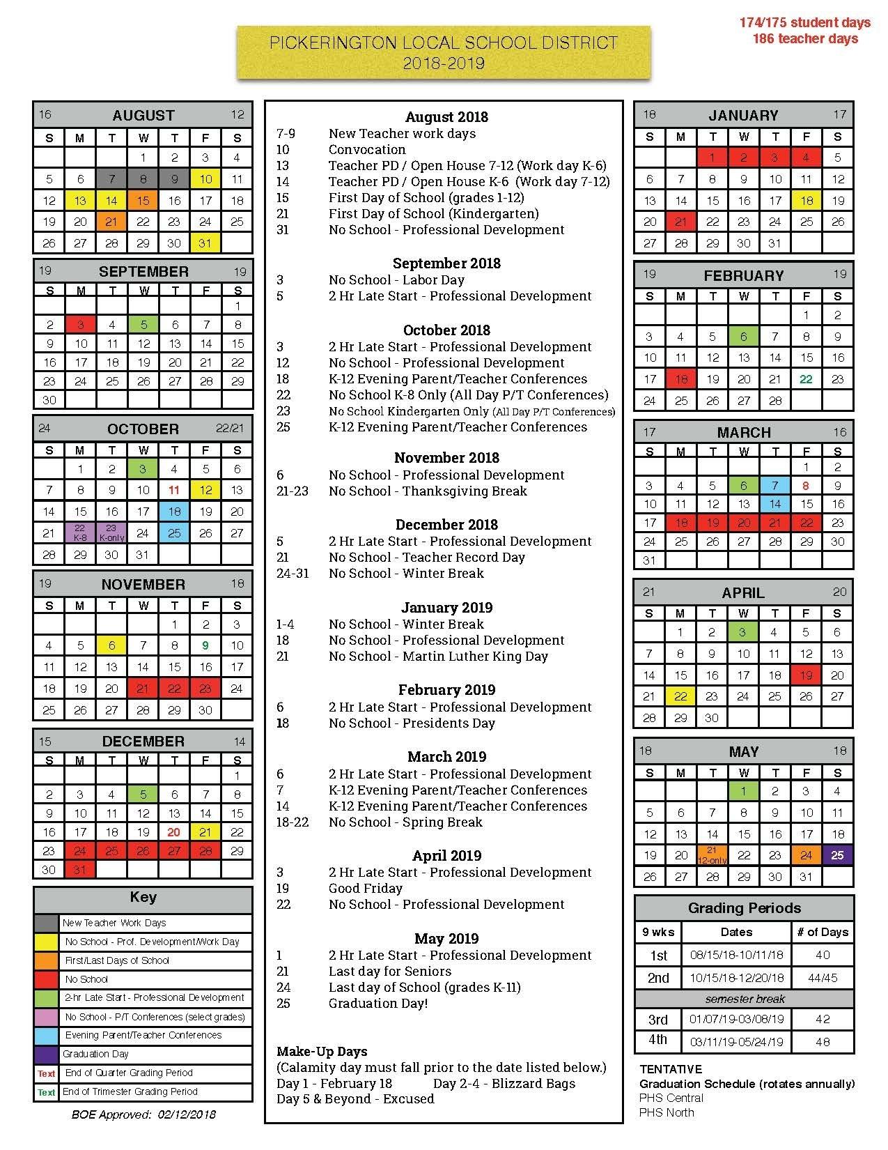 Board Of Education Approves 2018-19 Calendar - Pickerington Local School Calendar District 2