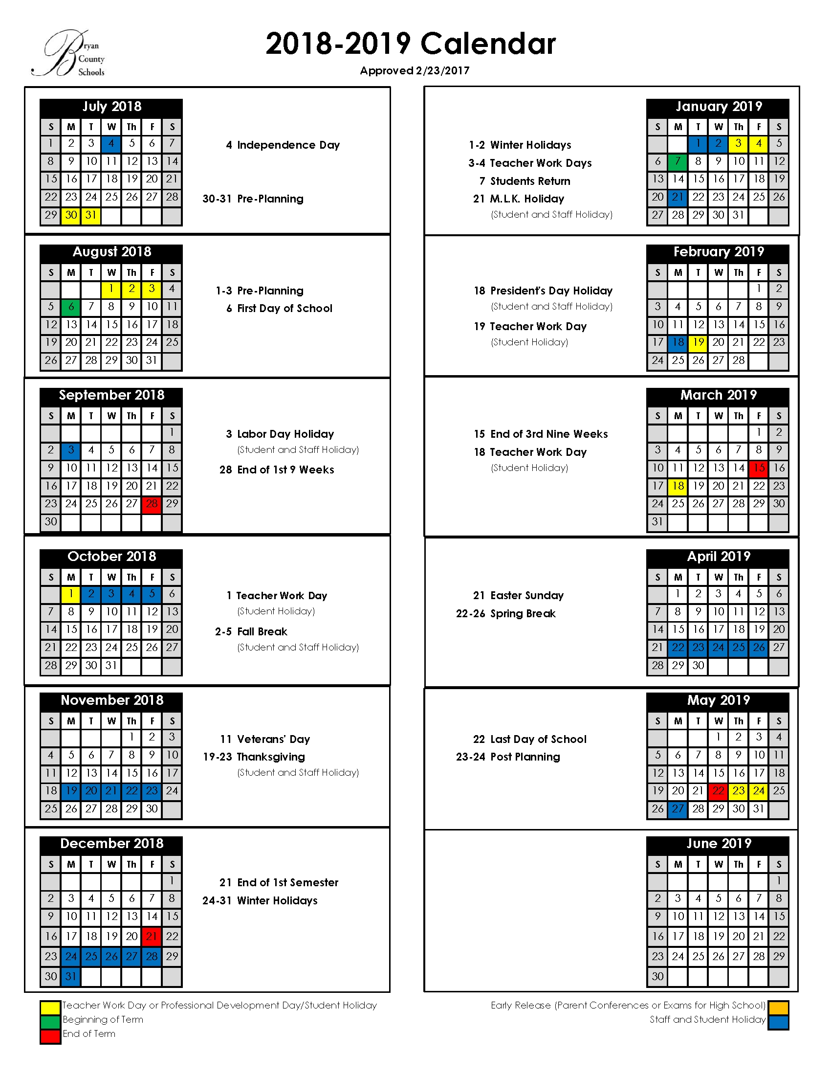 Bryan County Schools School Calendar District 2
