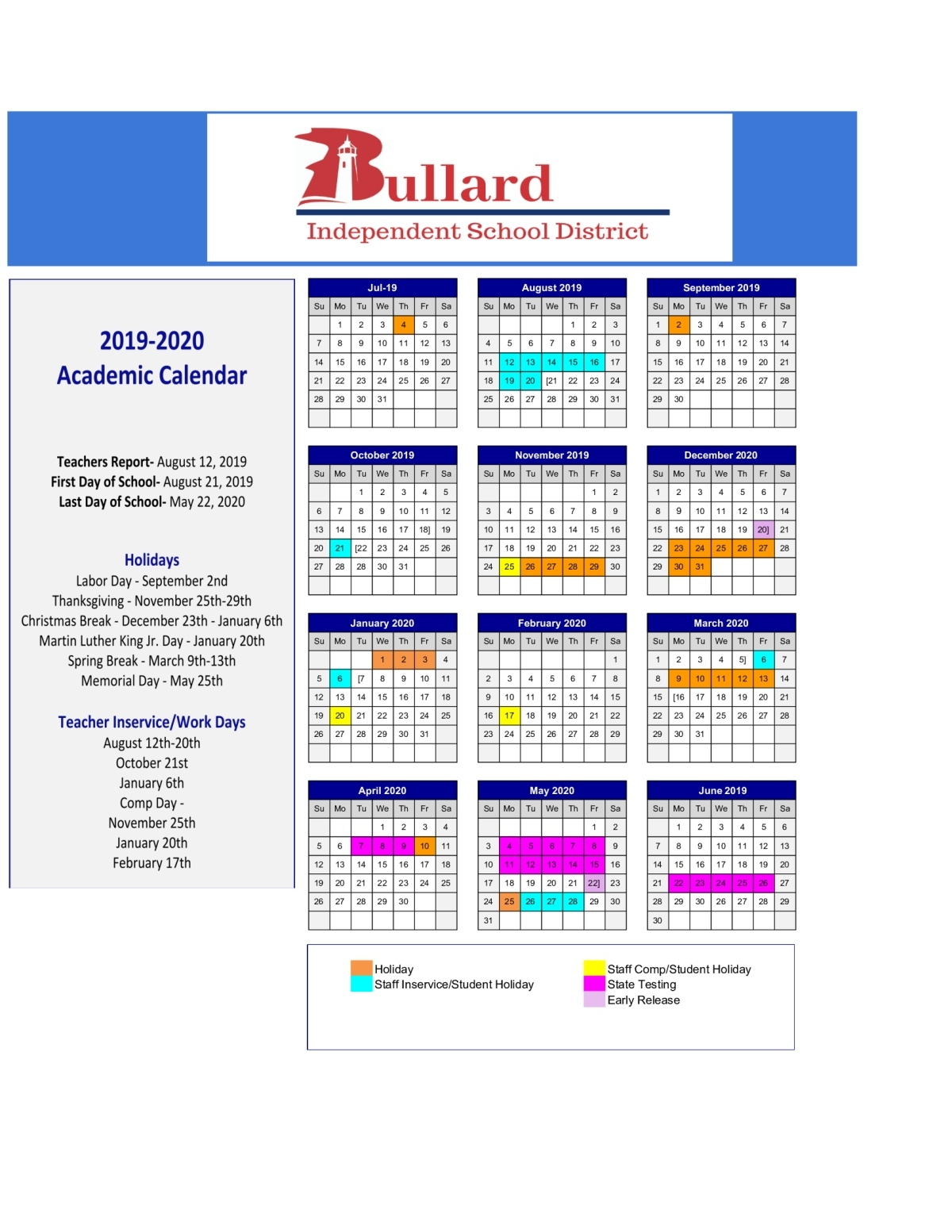 Bullard High School / Homepage 2020 Academic Calendar Griffith