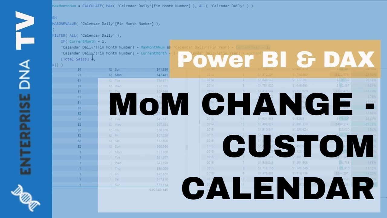 Calculating Month On Month Change - Custom (445) Calendars, Power Bi Calendar Month Vs Rolling Month