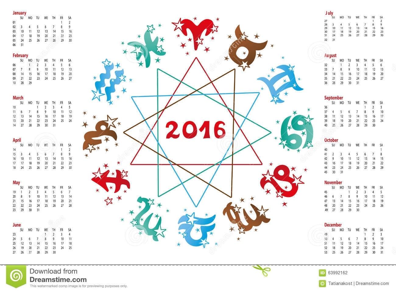 Calendar 2016.horoscope Zodiac Sign Stock Vector - Illustration Of Zodiac Calendar Signs Dates