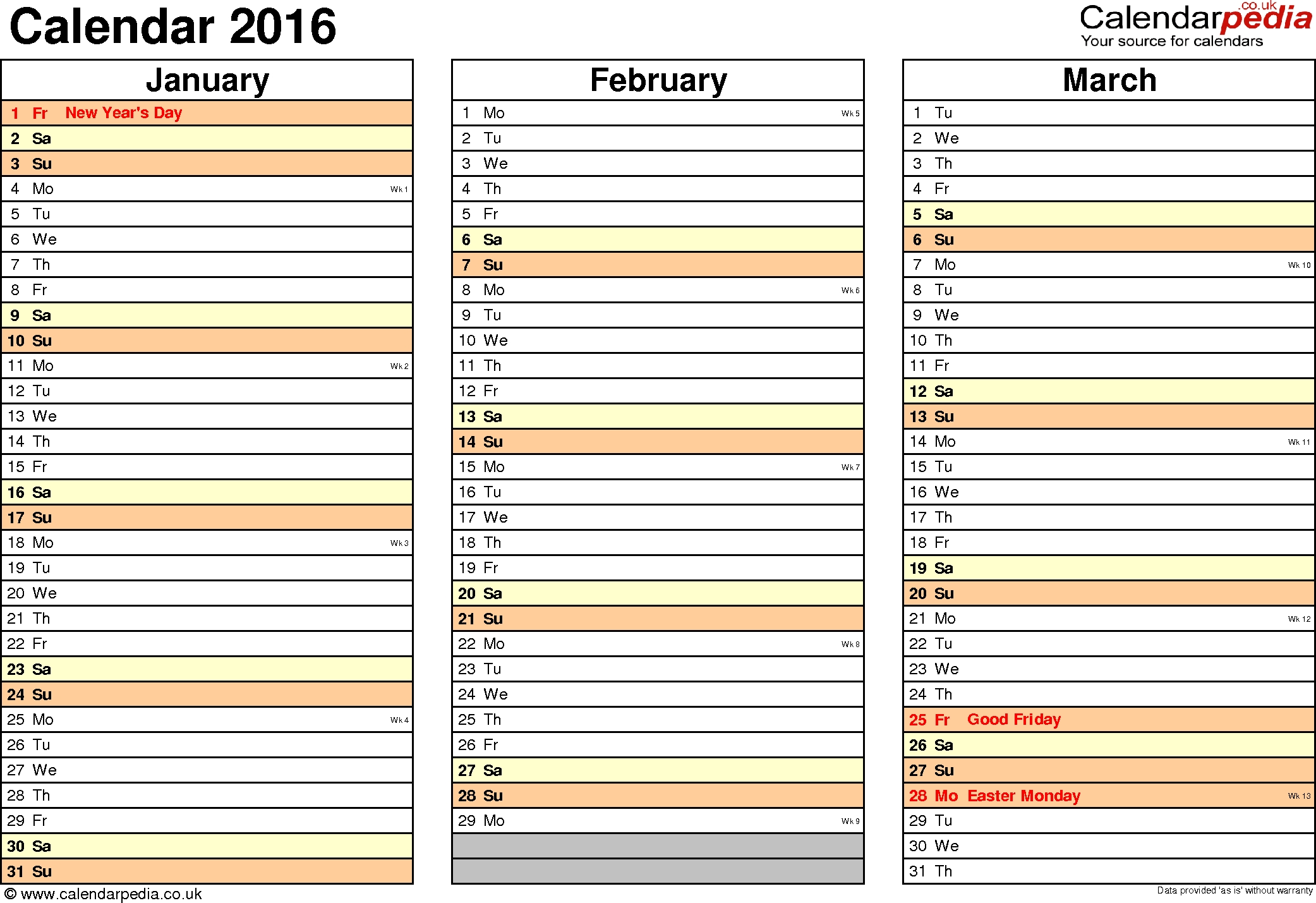 Calendar 2016 (Uk) - 16 Free Printable Word Templates 3 Month Calendar Uk