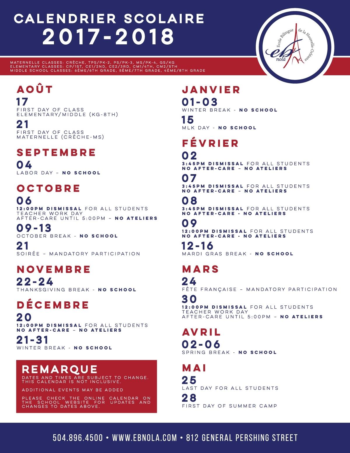 Calendar-2017-18-Fr – Bienvenue À L'ecole Bilingue De La Nouvelle L'ecole Bilingue School Calendar