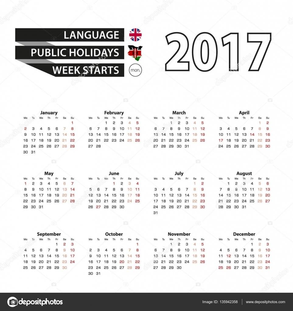 Calendar 2017 On English Language. With Public Holidays For Kenya In Calendar Holidays In Kenya