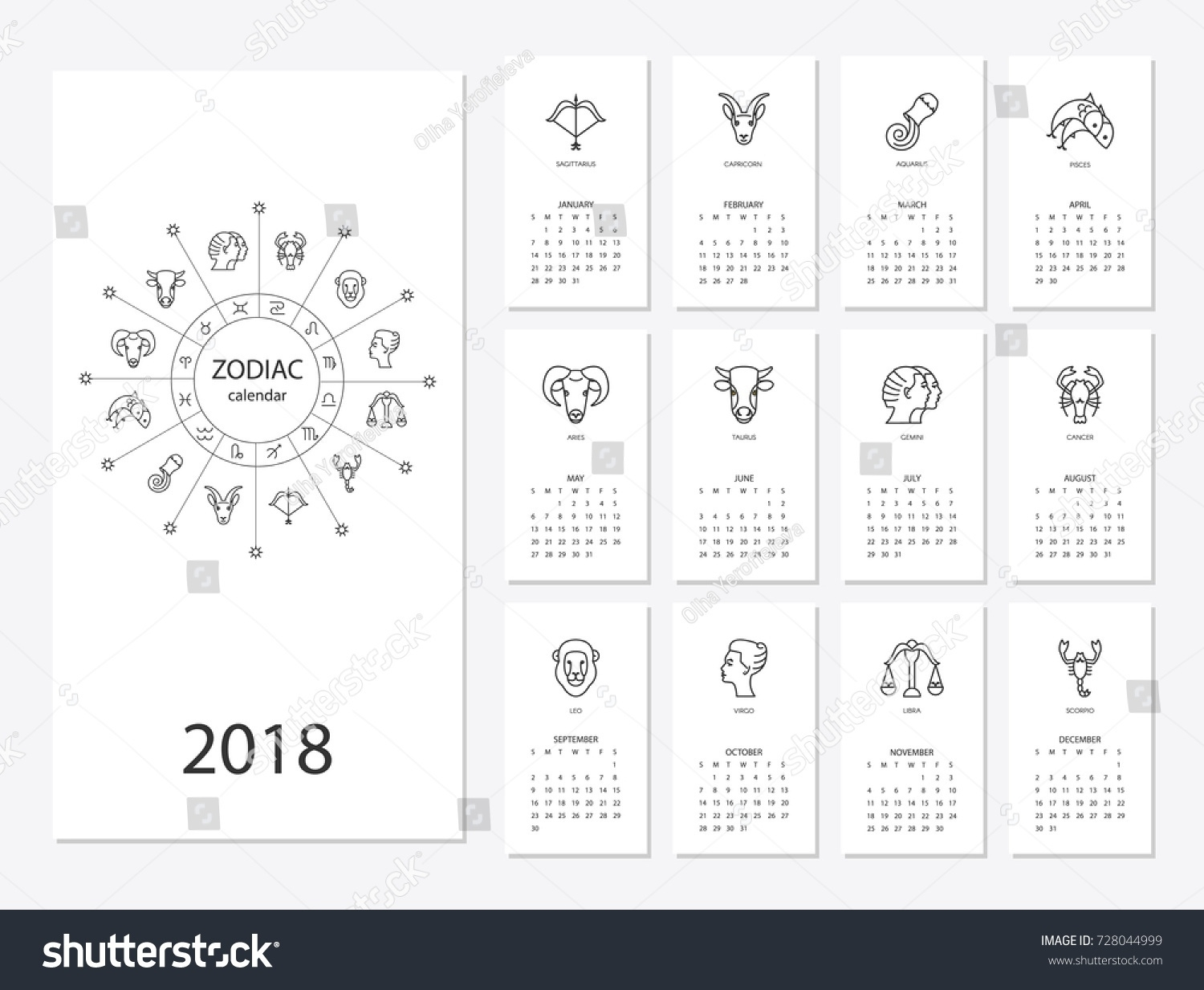 Calendar 2018 Horoscope Signs Zodiac Symbols Stock Vector (Royalty Calendar For Zodiac Signs