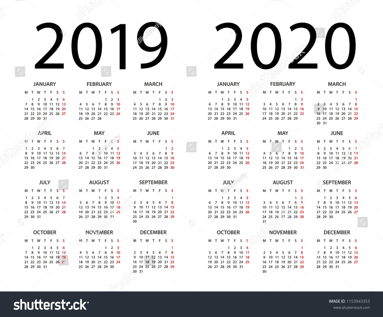 Calendar 2019 2020 Year Vector Illustration Stock Vector (Royalty 2020 Calendar Starting Monday