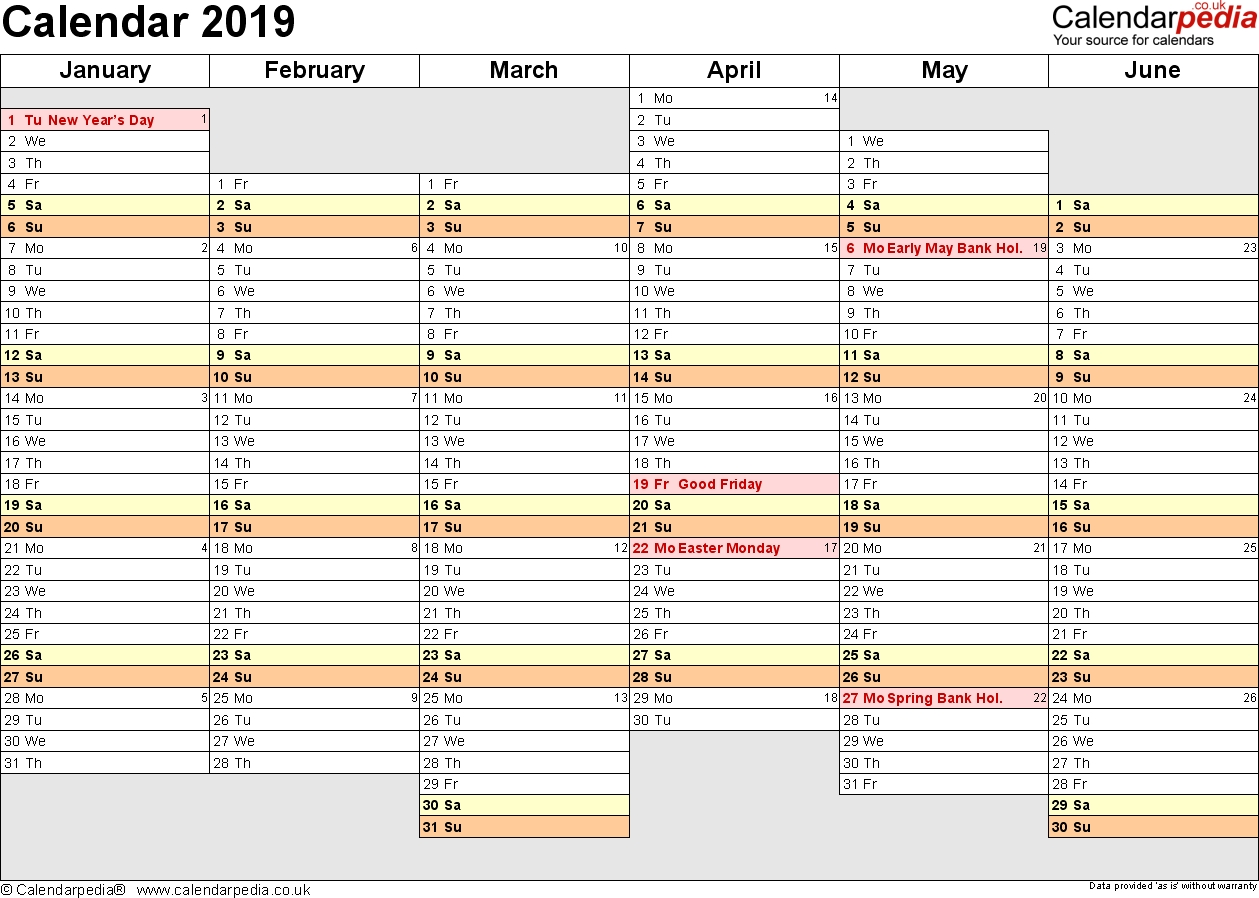 Calendar 2019 (Uk) - 16 Free Printable Pdf Templates 3 Month Calendar Uk