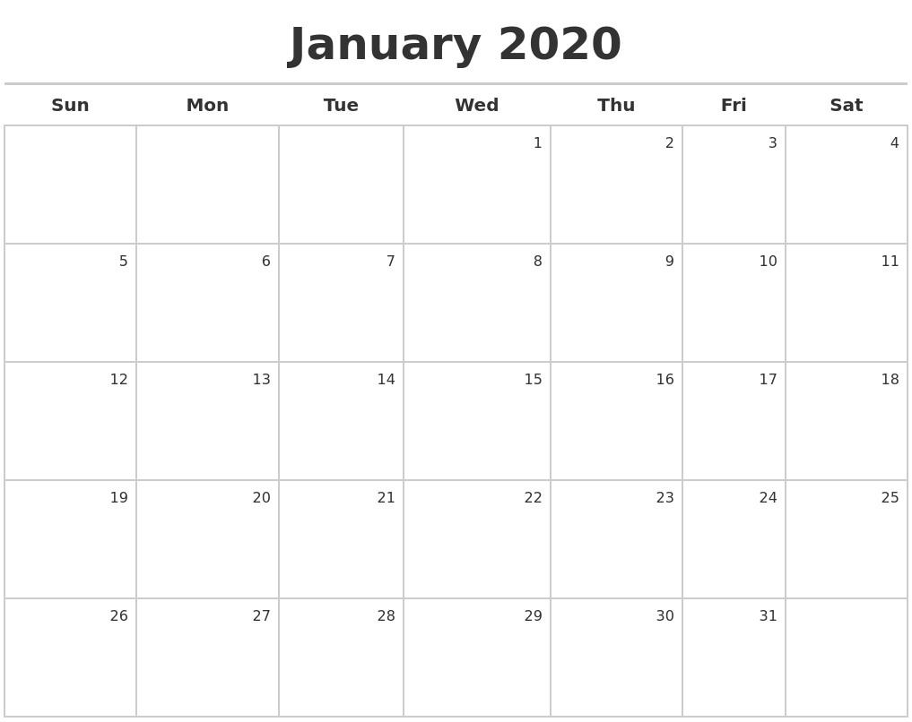 Calendar 2020 January | Lankafuntrip Perky 2020 Calendar Template Indesign
