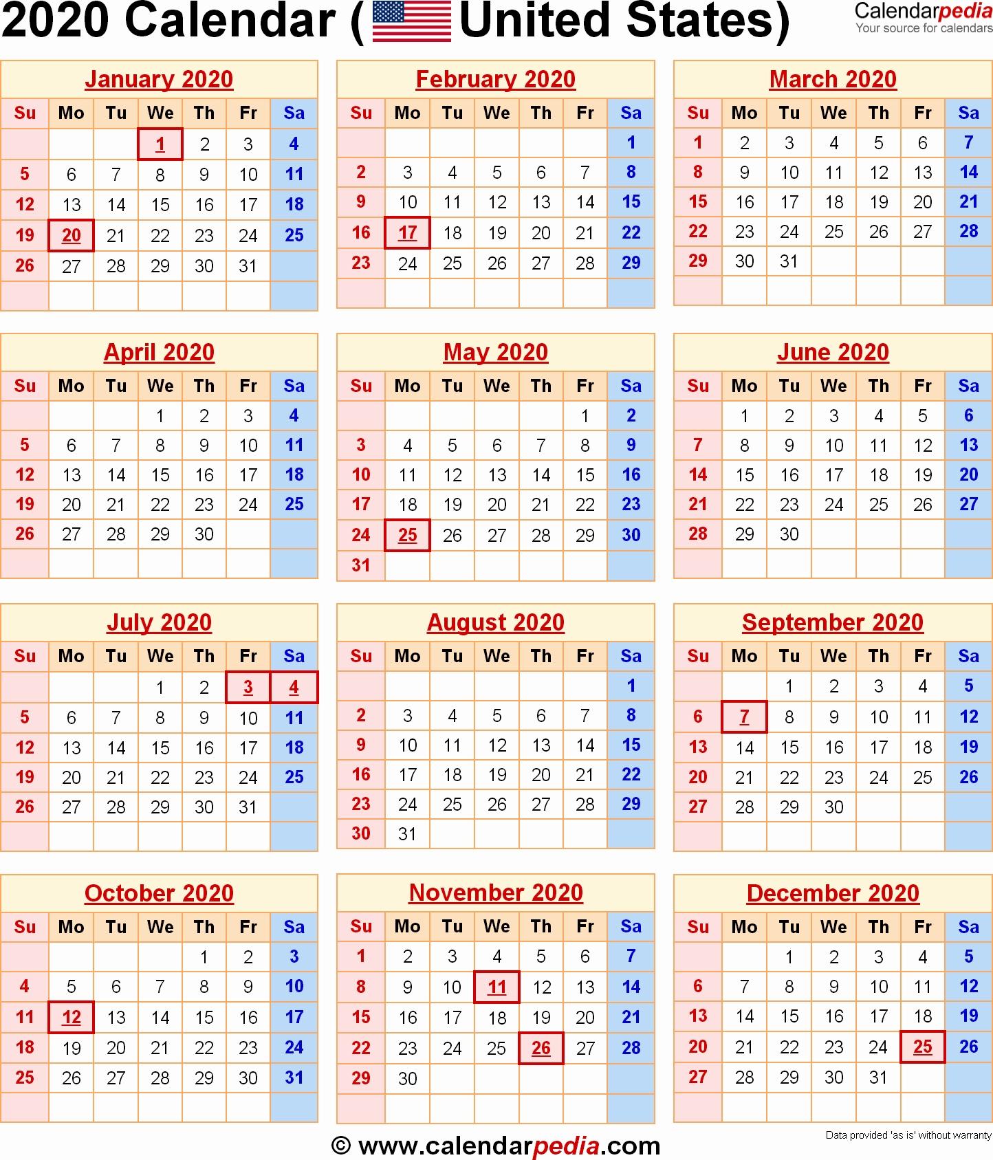Calendar 2020 Printable With Holidays 2020 Calendar With Federal 2020 Calendar Free Download