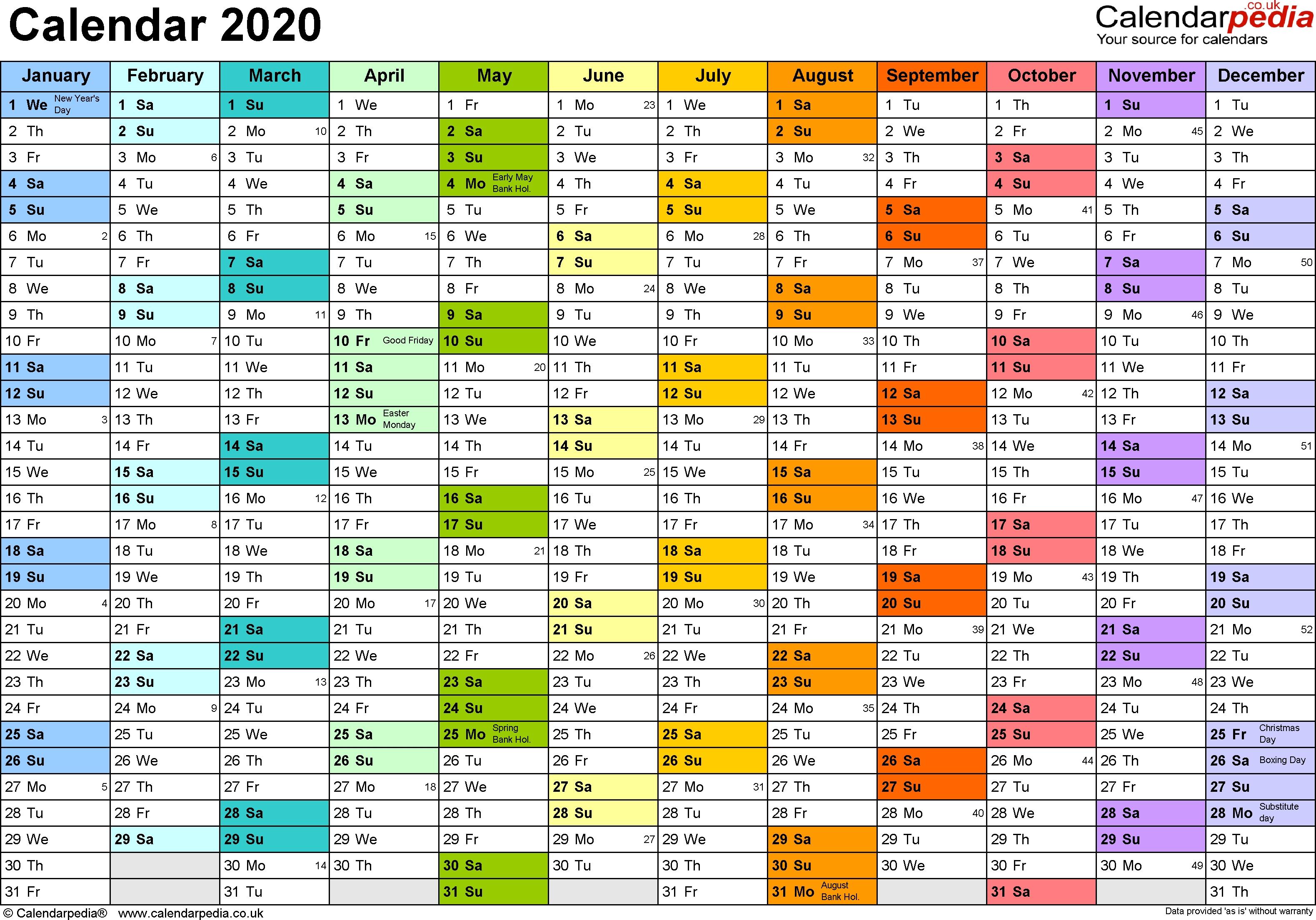 Calendar 2020 (Uk) - 16 Free Printable Pdf Templates 2020 Calendar Uk With Week Numbers