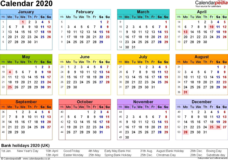 Calendar 2020 (Uk) - 16 Free Printable Pdf Templates Impressive 2020 Calendar Uk With Week Numbers
