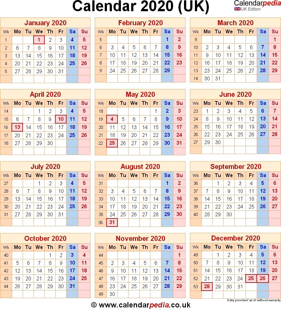 Calendar 2020 Uk With Bank Holidays & Excel/pdf/word Templates Impressive 2020 Calendar Uk With Week Numbers