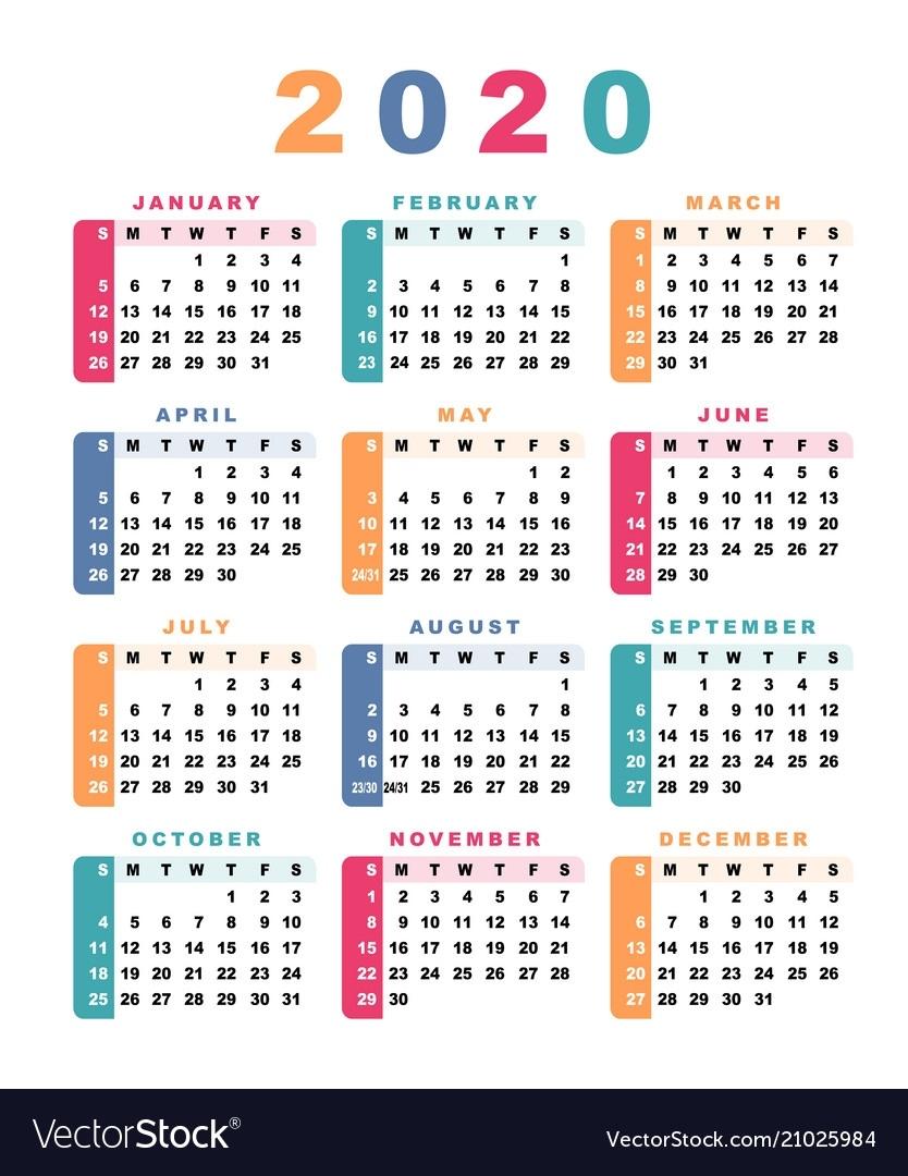 Calendar 2020 Week Starts With Sunday Royalty Free Vector 2020 Calendar Starting Monday