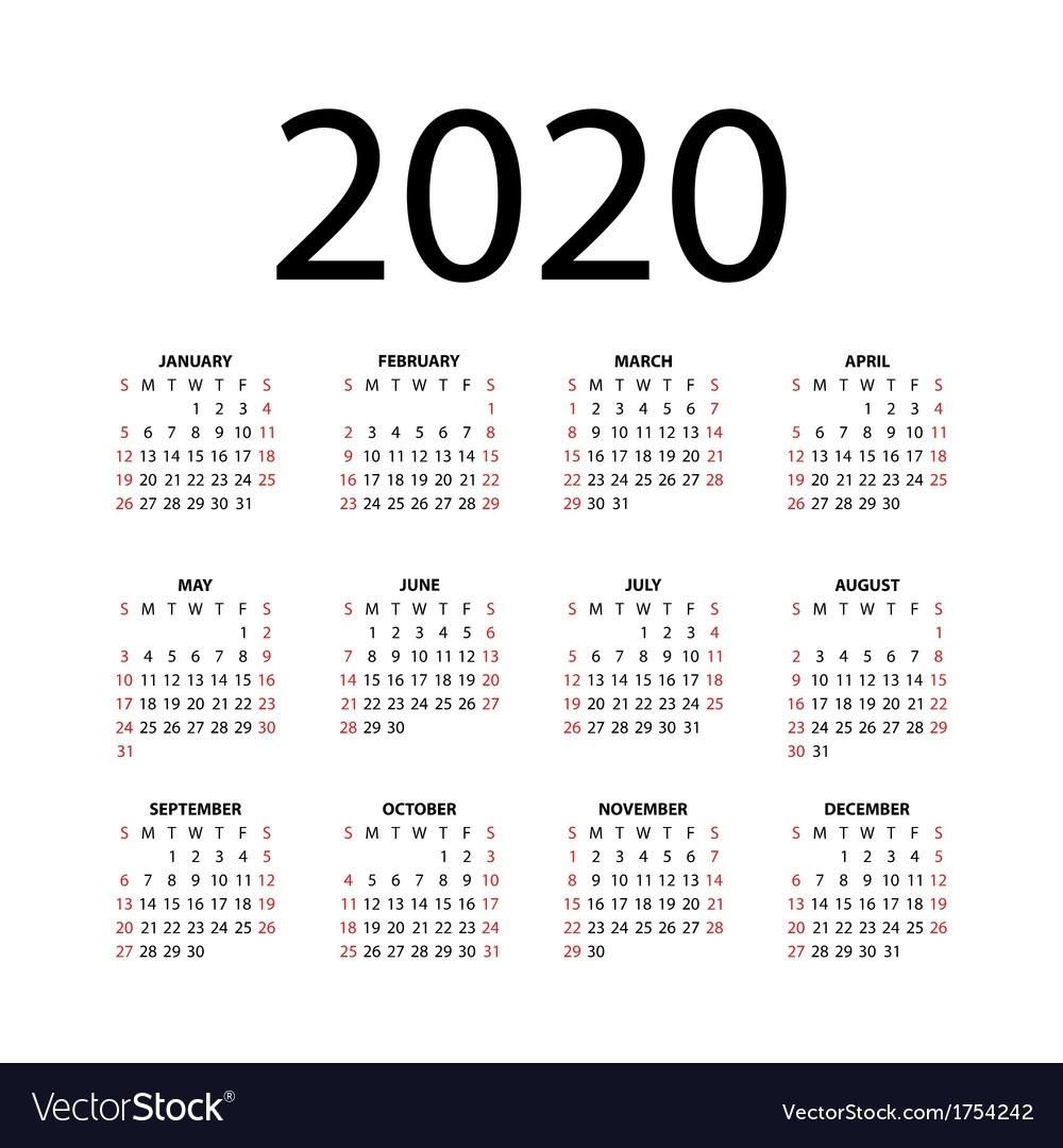 Calendar For 2020 Royalty Free Vector Image - Vectorstock Remarkable 2020 Calendar Free Download