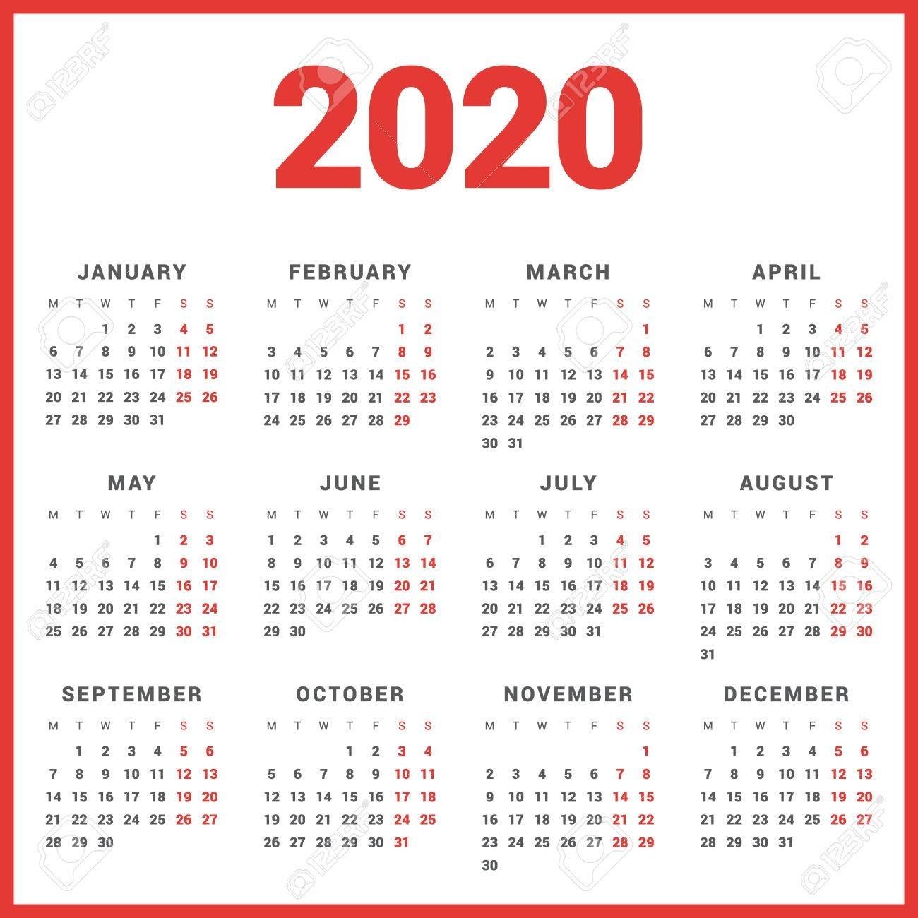 Calendar For 2020 Year On White Background. Week Starts Monday Perky 2020 Calendar Starting Monday