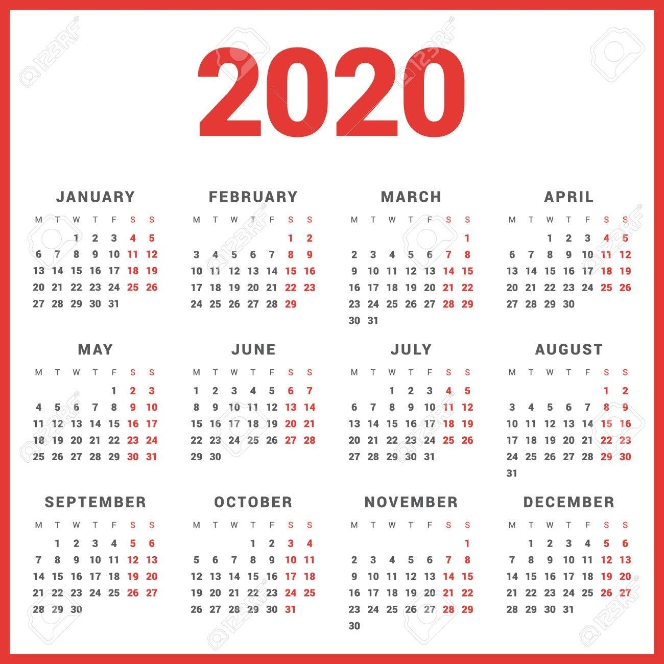 Calendar For 2020 Year On White Background. Week Starts Monday Perky 2020 Calendar Starting On Monday