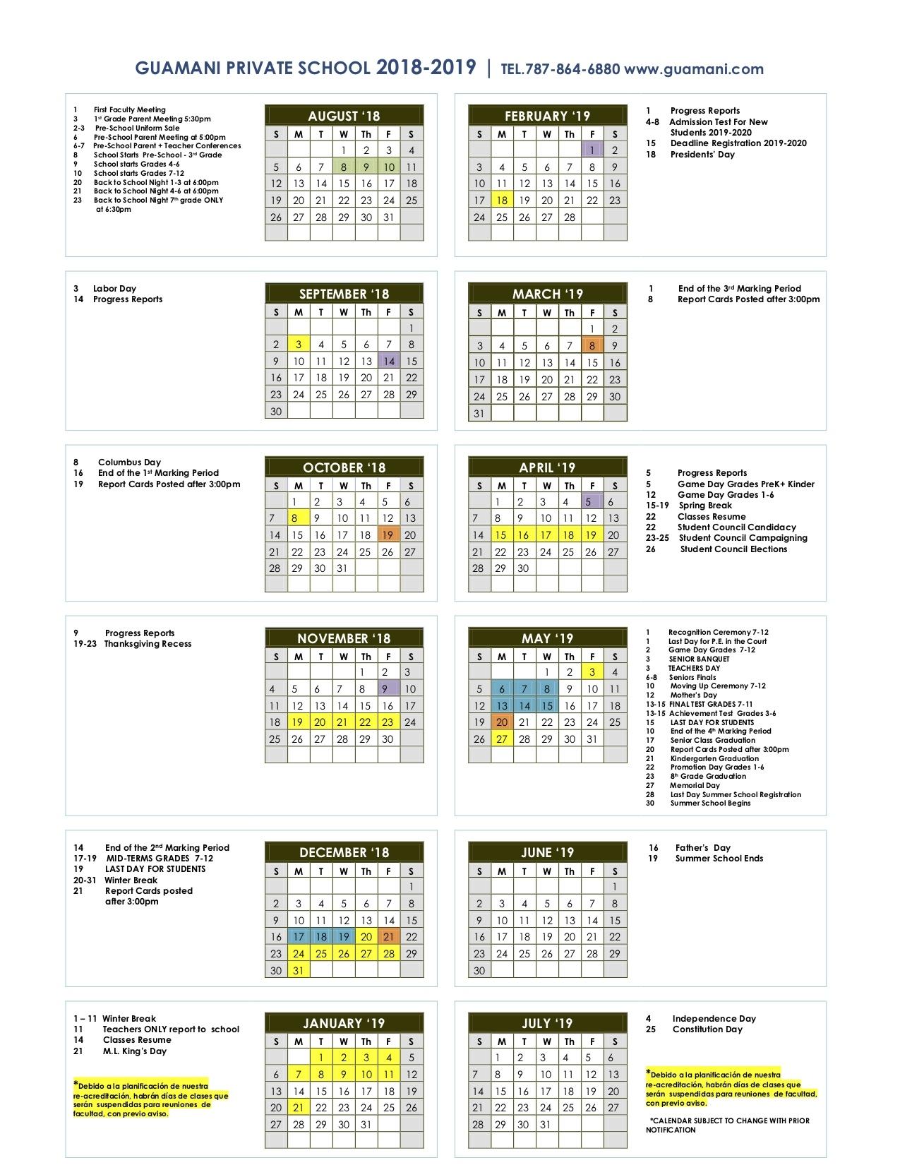 Calendar – Guamani Private School Incredible L'ecole Bilingue School Calendar