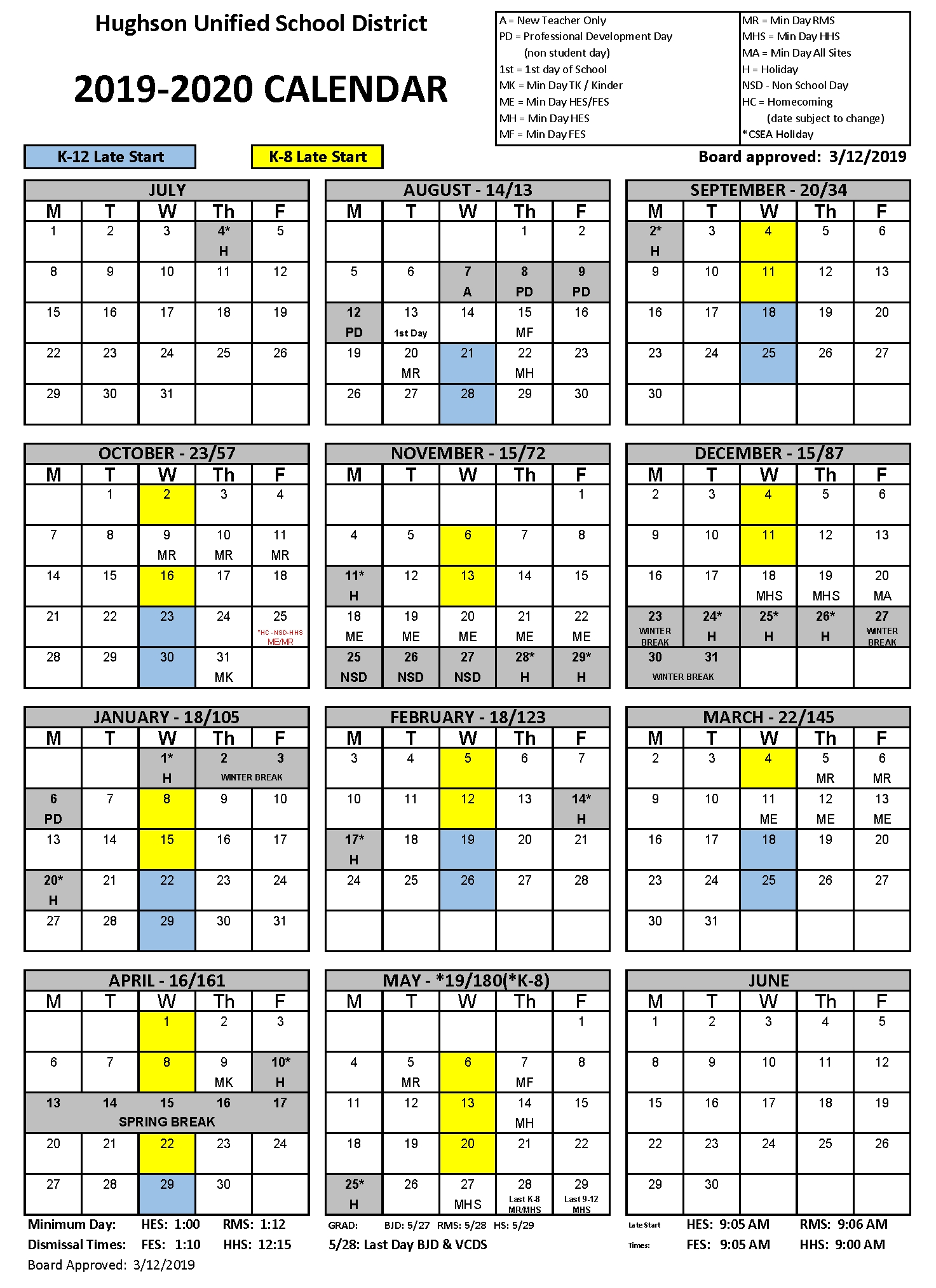 Calendar - Hughson Unified School District Exceptional Fox C-6 School Calendar