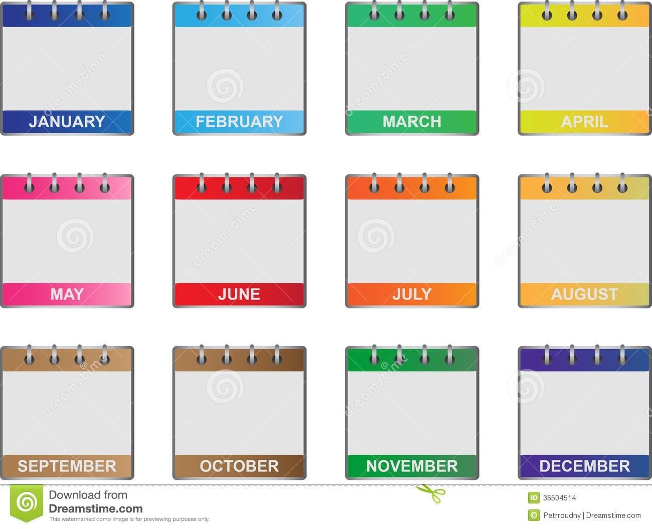 Calendar Icons Set Stock Vector. Illustration Of Illustrations Months Of Year Calendar