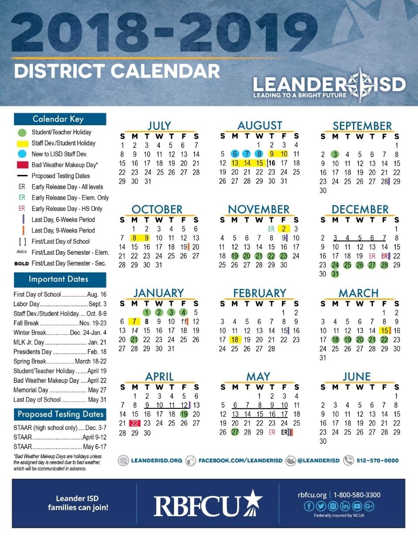 Calendar - Leander Independent School District Incredible School Calendar District 2