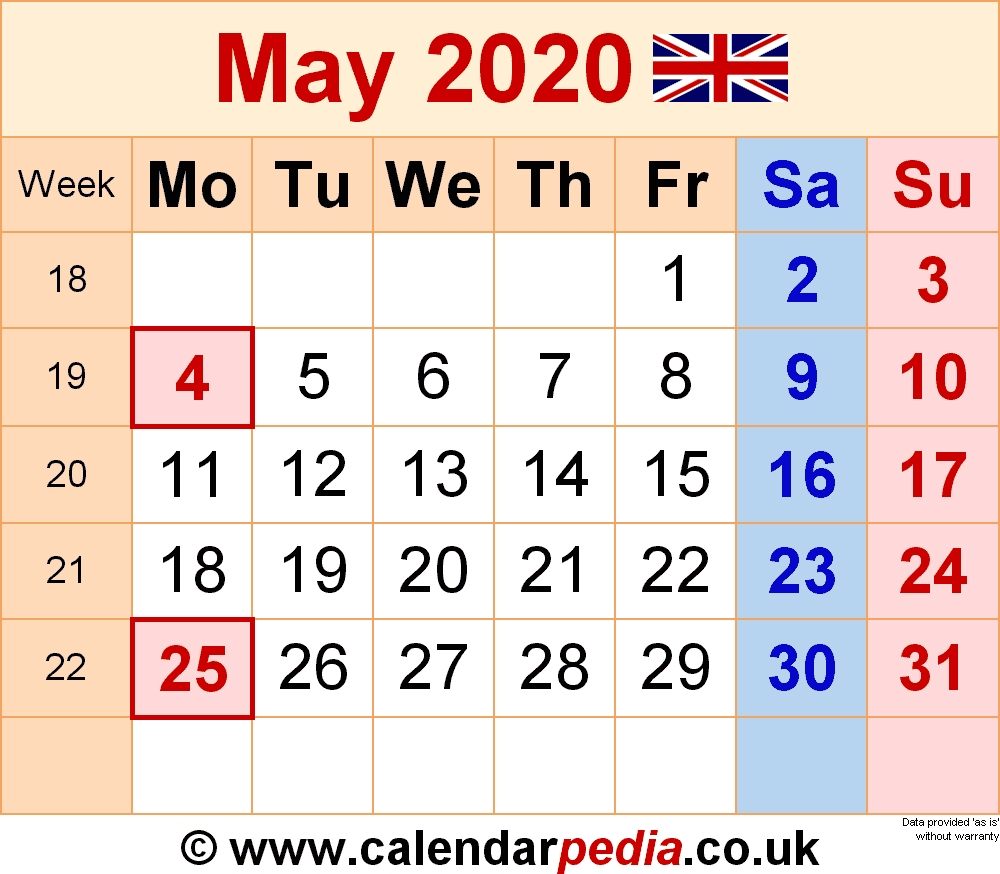 Calendar May 2020 Uk, Bank Holidays, Excel/pdf/word Templates May 2020 Calendar Uk