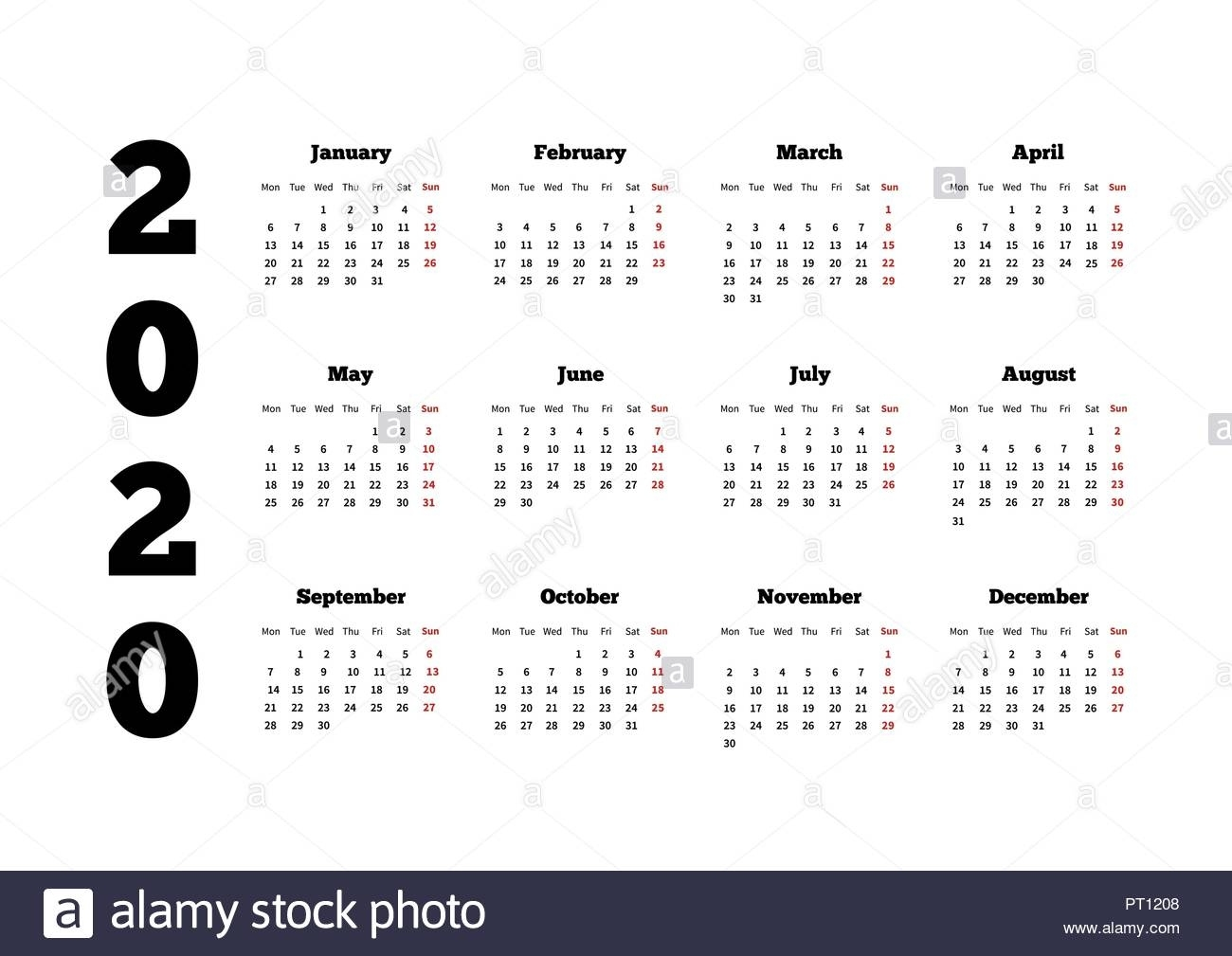 Calendar On 2020 Year With Week Starting From Monday, A4 Sheet Stock 2020 Calendar Starting On Monday