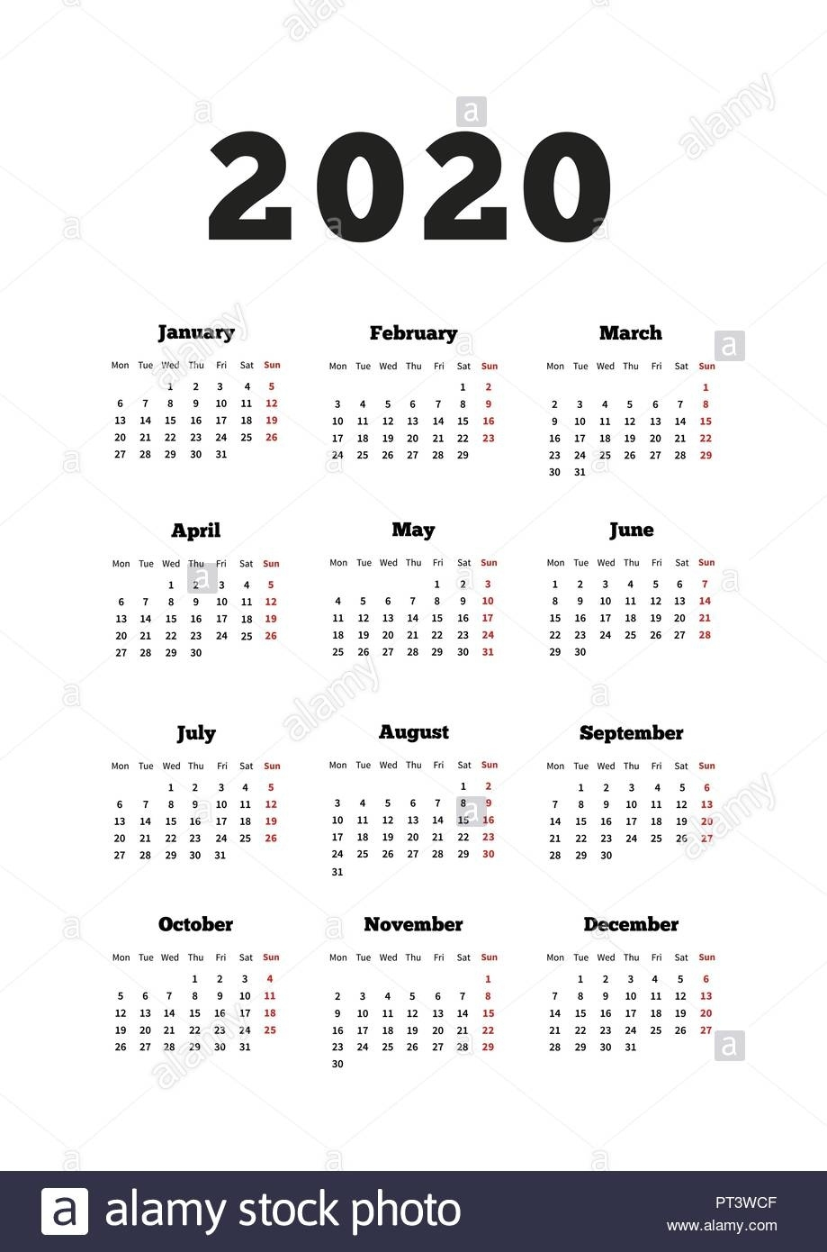 Calendar On 2020 Year With Week Starting From Monday, A4 Size 2020 Calendar Starting On Monday